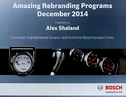 Robert Bosch award certificate presented to Alex Shaland for contribution to a rebranding program