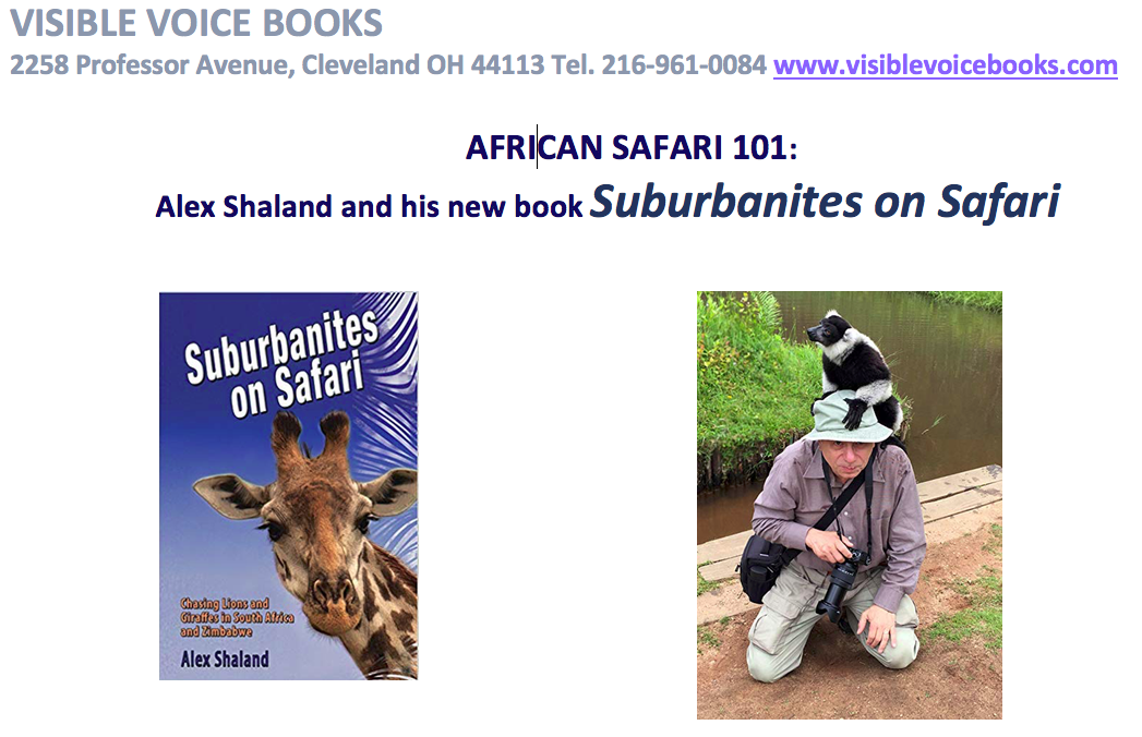 Flyer for Suburbanites on Safari book launch event