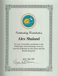 Alex Shaland's NASA award for supportin a space station program