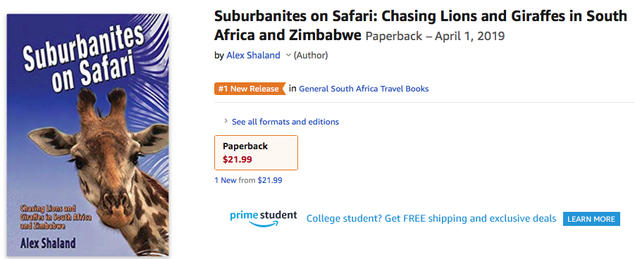Amazon page for book Suburbanites on Safari with a banner saying that this book is #1 in General Africa Travel Books