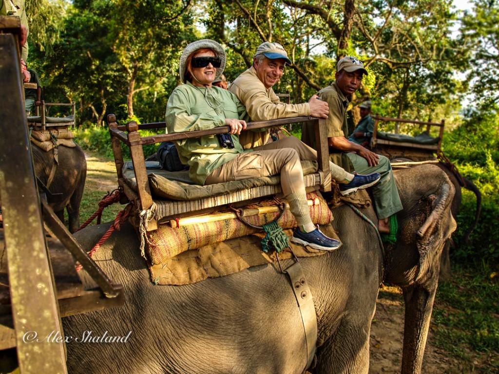 Irene and Alex Shaland on Elephant safari in Chitwan National Park, Nepal